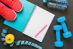 Notepad, a bottle of water, an apple, a skipping rope, dumbbells. Healthy diet, lifestyle, concept of dumbbells. Notepad, a bottle of water, an apple, a skipping Royalty Free Stock Image