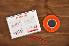 Notepad with business start up Royalty Free Stock Photography