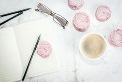 Notepad, cakes and coffee, romantic Royalty Free Stock Photography