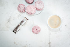 Notepad, cakes and coffee, romantic Royalty Free Stock Photos
