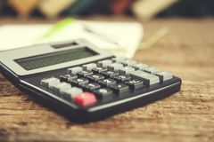 Notepad and calculator royalty free stock images
