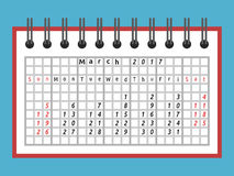 Notepad calendar, March 2017. One month calendar in notepad for March 2017. Week starts on Sunday. Time, planning and schedule concept. Flat design. Vector vector illustration