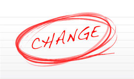 Notepad with change message illustration. Design Stock Photos