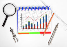 Notepad with chart Royalty Free Stock Photos
