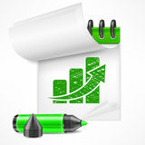 Notepad with chart Royalty Free Stock Photography