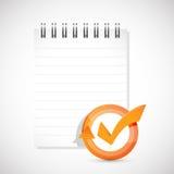 Notepad check mark cycle illustration Stock Image