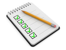 Notepad Checklist (clipping path included) Royalty Free Stock Photos