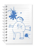 Notepad_with_children_drawing. Vector illustration of notepad with children drawing and blobs Stock Photography