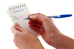 Notepad - Christmas List - already started Royalty Free Stock Photo