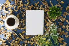 Notepad and coffee on rustic background. Notepad and coffee on rustic blue background with dry flower petals Stock Images