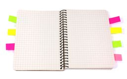 Notepad with colored bookmarks stock photography