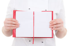 Notepad with copyspace in female cook hands Royalty Free Stock Images