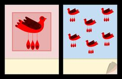 Notepad cover templates with red bird Stock Images