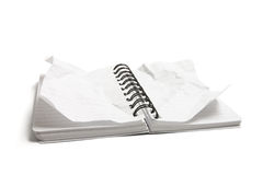 Notepad with Crumpled Pages Stock Photos