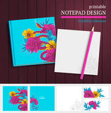 Notepad design with snake and flowers. Printable vector notepad design with snake, hand drawn flowers and blooming brunches Royalty Free Stock Photos