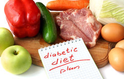 Notepad  with diabetic diet and raw organic food. Royalty Free Stock Photo