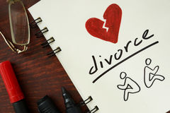 Notepad with divorce. Royalty Free Stock Photos