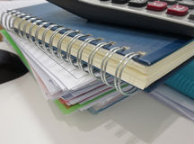 Notepad and file document in office Stock Images