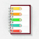 Notepad with five labels Royalty Free Stock Photography