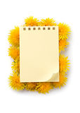 Notepad and flowers Stock Photos