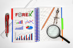 Notepad with forex chart Royalty Free Stock Photo