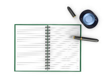 Notepad with fountain pen and ink jar Stock Photos