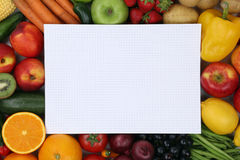 Notepad with fresh fruits, vegetables copyspace Royalty Free Stock Images