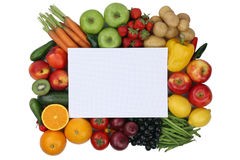 Notepad with fruits and vegetables with copyspace Royalty Free Stock Image