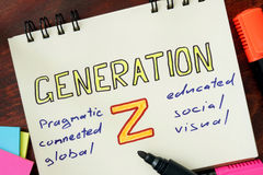 Notepad with generation z. Stock Photos