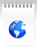 Notepad and globe Royalty Free Stock Images