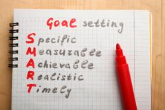 Notepad with goal setting. On a wooden background royalty free stock photography