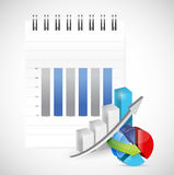 Notepad graph and pie chart illustration. Design over white Royalty Free Stock Images