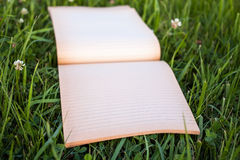 Notepad on the grass. With blurred background Royalty Free Stock Images