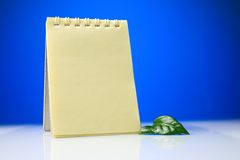 Notepad with green leaves Stock Image