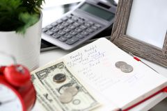 Notepad with handwritten calculations of family budget royalty free stock photography