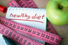 Notepad with healthy diet Royalty Free Stock Image
