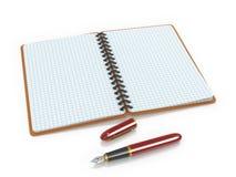 Notepad i atramentu pióro Obrazy Royalty Free