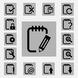 Notepad  icons set Royalty Free Stock Image