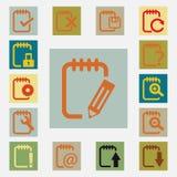 Notepad ikony ustawiać Obrazy Stock