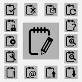 Notepad ikony ustawiać Obraz Royalty Free