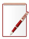 Notepad and ink pen. Royalty Free Stock Photography