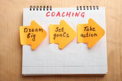 Notepad with inscription coaching stock images