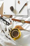 Notepad letter cup of coffee stock photos