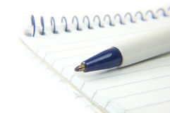 Notepad_macro_with_ballpoint_pen Images libres de droits