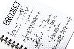 Notepad with a mathematical project Royalty Free Stock Photo