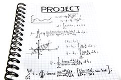 Notepad with a mathematical project Stock Images