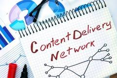 Notepad med nätverket för leverans för ordCdn innehåll royaltyfri foto