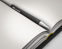 Notepad med pennnärbild Fotografering för Bildbyråer