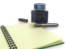 Notepad med reservoarpenna- och färgpulverkruset Fotografering för Bildbyråer