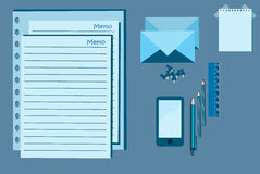Notepad, mobile and pen vector illustration Royalty Free Stock Photos